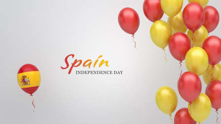 Celebration banner with balloons in Spain flag colors.