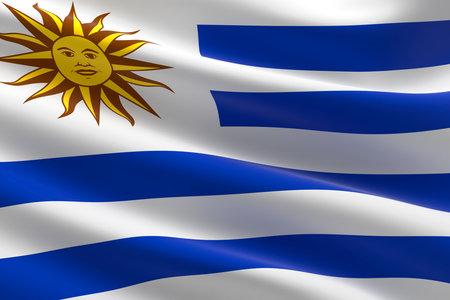 Flag of Uruguay. 3d illustration of the Uruguayan flag waving.