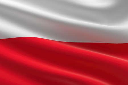 Flag of Poland. 3d illustration of the Polish flag waving.