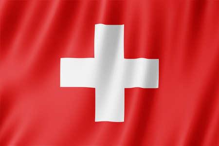Switzerland flag waving in the wind. Standard-Bild