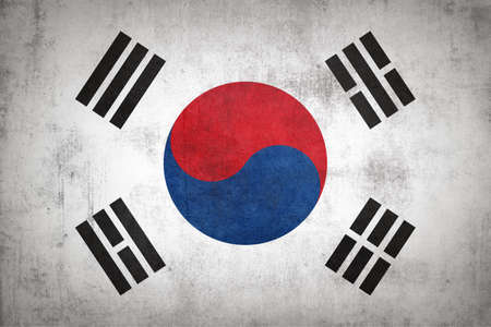 South Korea flag with grunge texture.
