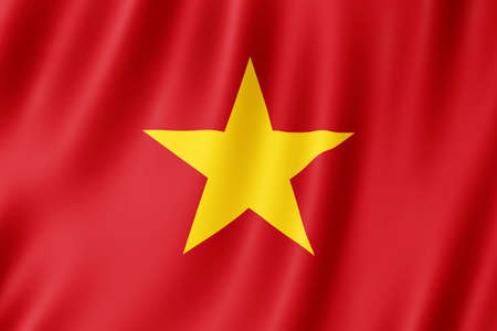 Vietnam flag waving in the wind. Standard-Bild