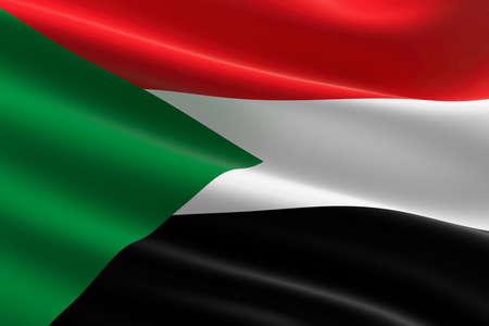 Flag of Sudan. 3d illustration of the Sudanese flag waving. Standard-Bild