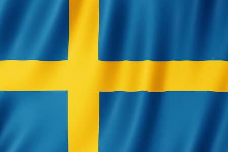 Sweden flag waving in the wind.