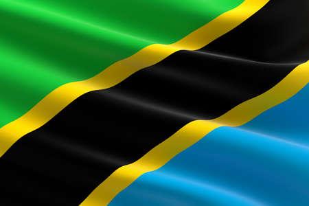 Flag of Tanzania. 3d illustration of the Tanzanian flag waving.