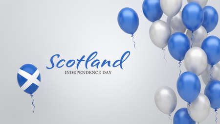 Celebration banner with balloons in Scotland flag colors.