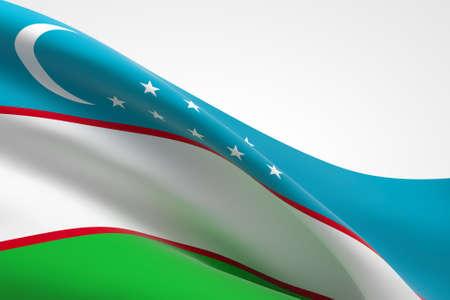 3d render of the Uzbek flag waving. Standard-Bild