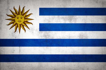 Uruguay flag with grunge texture. Standard-Bild
