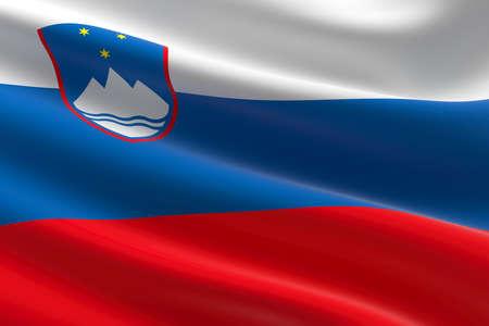 Flag of Slovenia. 3d illustration of the Slovene flag waving.