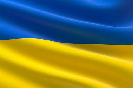 Flag of Ukraine. 3d illustration of the Ukrainian flag waving.