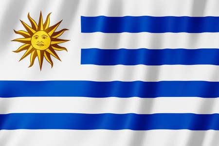 Uruguay flag waving in the wind. Standard-Bild