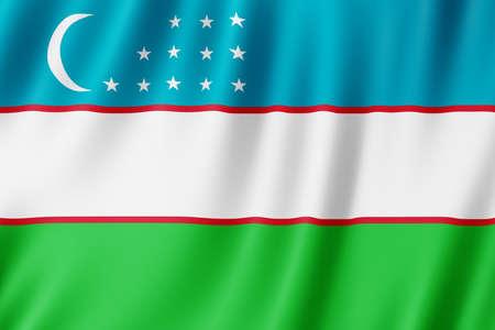 Uzbekistan flag waving in the wind.