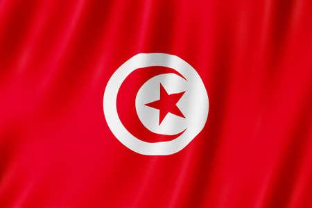 Tunisia flag waving in the wind. Standard-Bild