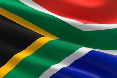 Flag of South Africa. 3d illustration of the South African flag waving.