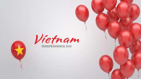 Celebration banner with balloons in Vietnam flag colors. Standard-Bild