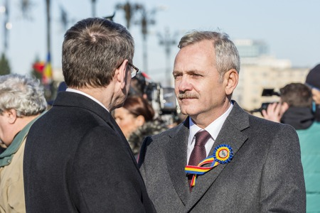 psd: BUCHAREST, ROMANIA - DECEMBER 01, 2015: Romanian politician Liviu Dragnea during the Romanian National Day. Is a Romanian engineer and politician and the leader of the Social Democratic Party PSD.