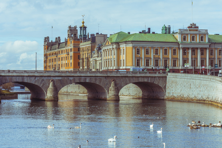 View of the bay in the city center of Stockholm, Sweden with the Arvfurstens Palats, seat of the Ministry for Foreign Affairs Stock Photo