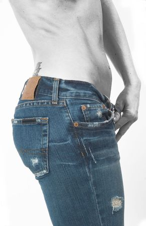 Blue jeans and torso Stock Photo