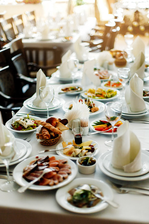 banquet table: Table with food and drink Stock Photo