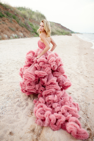 beauties: Beauties blonde young woman for long amazing white pink wedding sexy dress on the sea