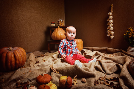 Portrait of adorable baby boy in stylish clothes sitting in room with pumpkin and acorns Stock Photo