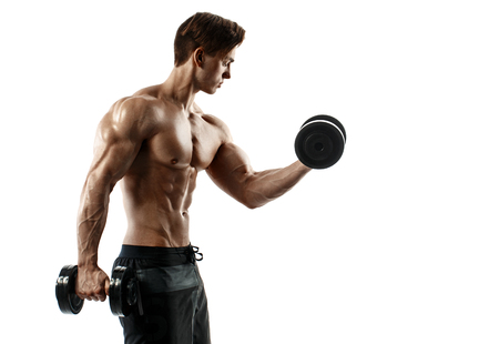 retouched: Muscular bodybuilder guy doing exercises with dumbbells over white background