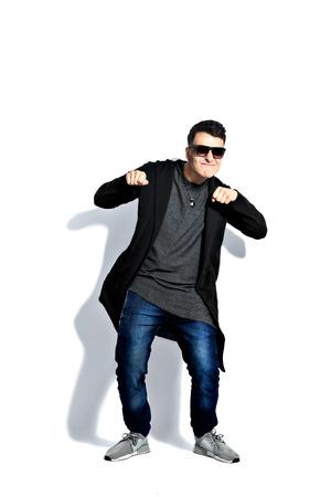 strange man attitude man on isolated white background dancing , having fun. Isolate on white Stock fotó