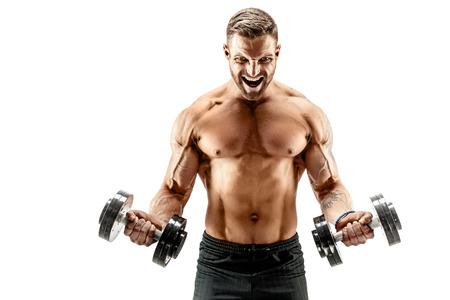 Adult muscular man screaming while working out hard with dumbbells.