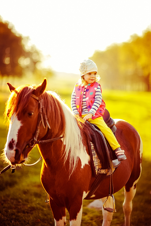 outdoors shot of cute little girl riding a chestnut equine.