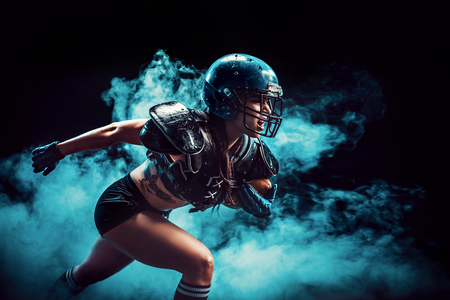 Sexual sportive woman running with rugby ball and screaming aggressively in smoke.