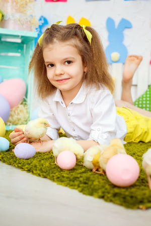 Charming little girl cuddling with plenty of soft ducklings and chiken lying on green meadow in studio decorated for Easter.