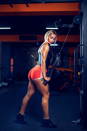 Sexy athletic girl working out in gym. Fitness woman doing exercise for triceps. Beautiful butt in legging Stock Photo