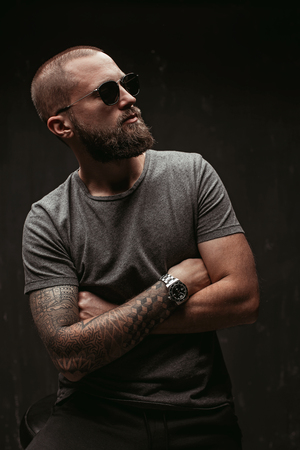 Portrait of a handsome balded man with long well trimmed beard wearing sunglasses and grey shirt looking away to side. Stock fotó