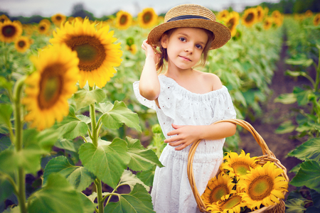 Portrait happy child girl in white dress, straw hat with a basket of sunflowers smiling and looking at camera. Sunny light playing on field. Family outdoor lifestyle. Summer cozy mood.