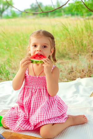 Funny portrait of an incredibly beautiful little girl eating watermelon, healthy fruit snack, adorable toddler child playing in a sunny meadow on a hot summer day. Diet, vitamins, healthy food concept Stock Photo