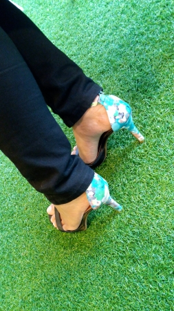 pants: Women leg standing at the artificial grass