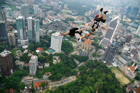 jumpers: A BASE jumpers in jumps off from KL Tower
