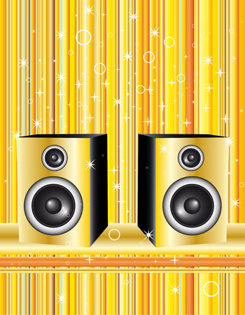 Illustration with speakers on gold stripes Vector