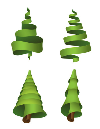 Set of 4 christmas trees made from ribbons