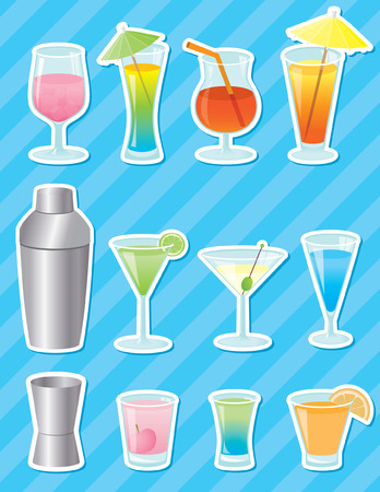 Cocktail stickers Vector