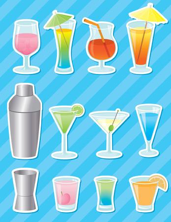 mezcla de frutas: Pegatinas de copas, c�cteles