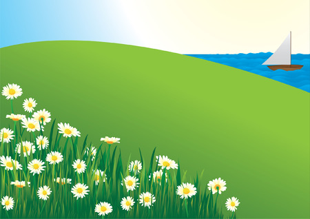 yellow hills: Daisy Field Illustration