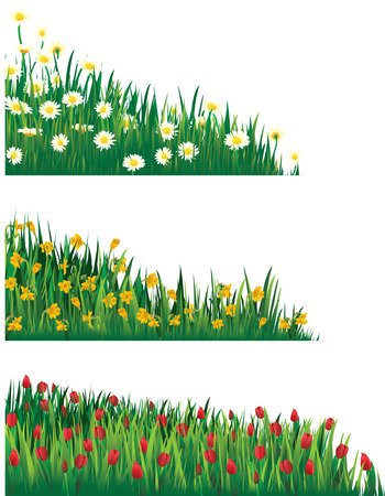 spring bed: Flower elements - corner Illustration