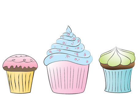 3 Delicious Cupcakes Illustration
