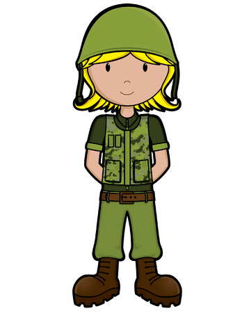 Girls on the Job - Army Girl - isolated Vector