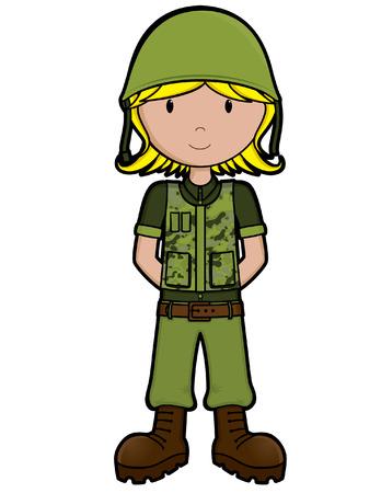 Girls on the Job - Army Girl - isolated Vektoros illusztráció