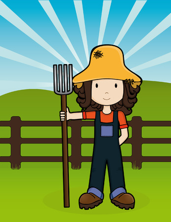 Girls on the Job - Farm Girl Stock Vector - 5365285