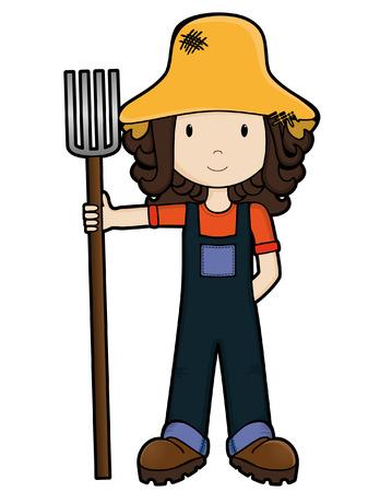 Girls on the Job - Farm Girl - isolated Vector