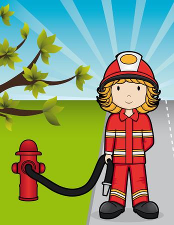 ropa trabajo: Las ni�as en el trabajo - Fire Girl Vectores