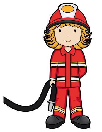 Girls on the Job - Fire Girl - isolated Illustration